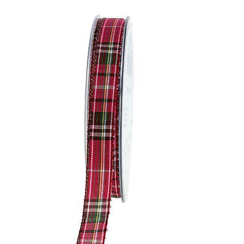 Geschenkband Schottisch Fuchsia 15mm 20m