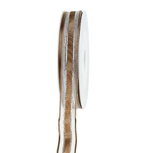Geschenkband mit Drahtkante Hellbraun 15mm 20m