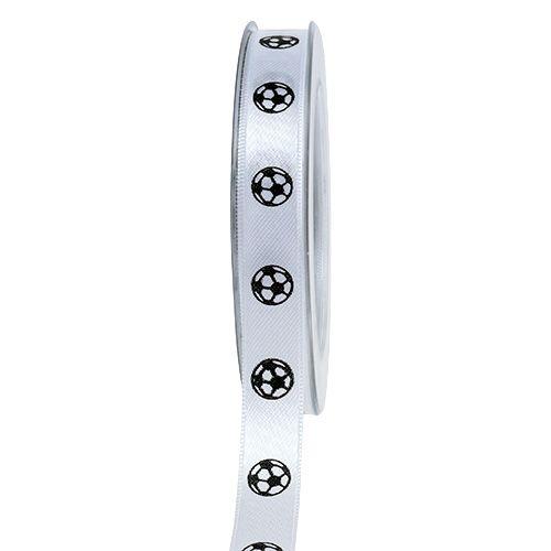 Geschenkband Weiß mit Fußball 15mm 25m