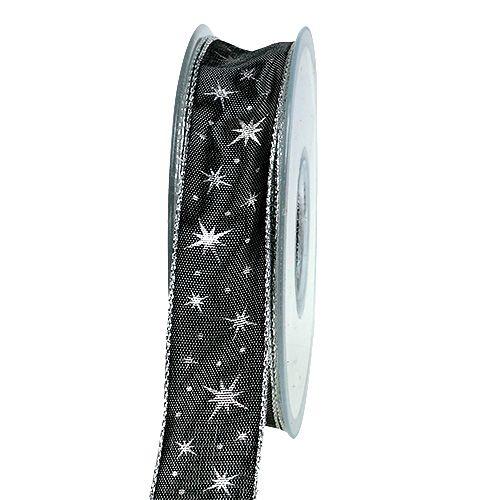 Geschenkband mit Drahtkante Grau mit Sternen 25mm 20m