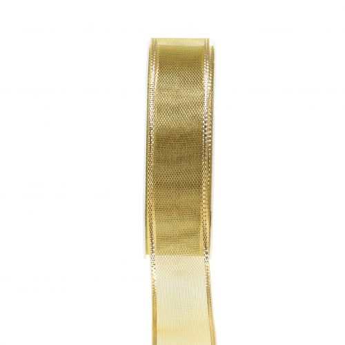 Geschenkband Gold Ringeleffekt 25mm 25m