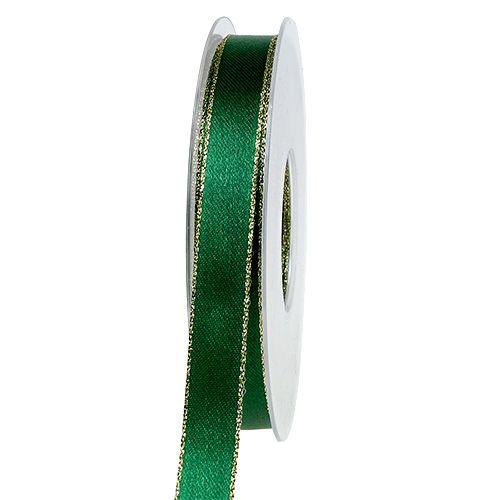 Geschenkband Seidenstoff Grün mit Goldkante 15mm 25m
