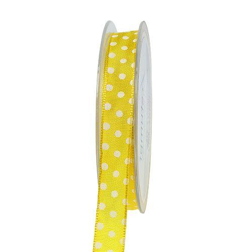 Geschenkband mit Punkten Gelb 15mm 20m