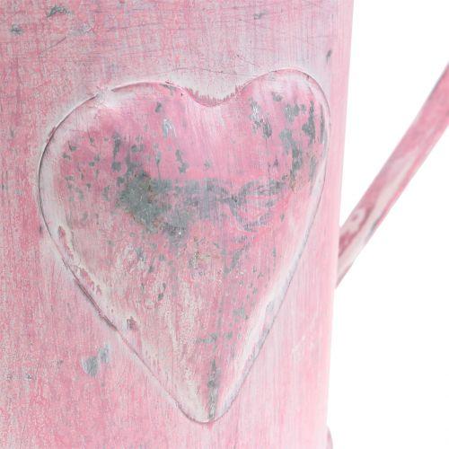 Pflanzgefäß Gießkanne mit Herz Rosa, Weiß gewaschen Ø12,5cm H13cm