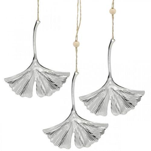 Dekoanhänger Ginkgoblatt, Metalldeko, Advent, Herbstdeko Silbern L12cm 12St