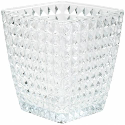Glaswindlicht Würfel Facettenmuster, Tischdeko, Vase aus Glas, Glasdeko 6St