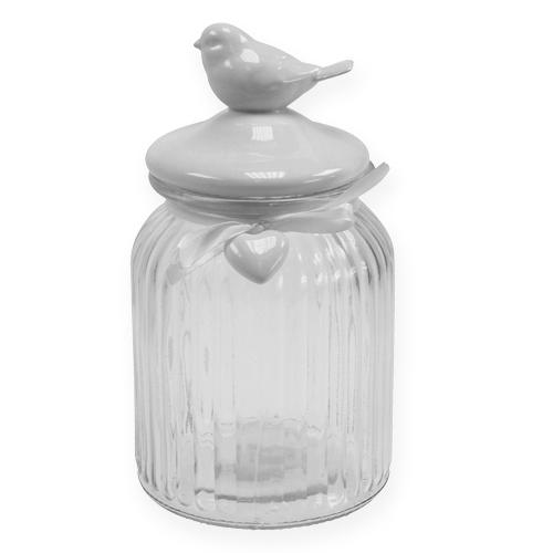 Glasbonbonniere mit Vogel 21cm