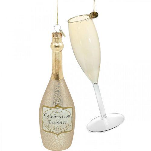 Sektflasche und Glas, Baumschmuck, Jubiläum, Glassdeko zum Hängen, Silvester H14,5cm Echtglas 2er-Set
