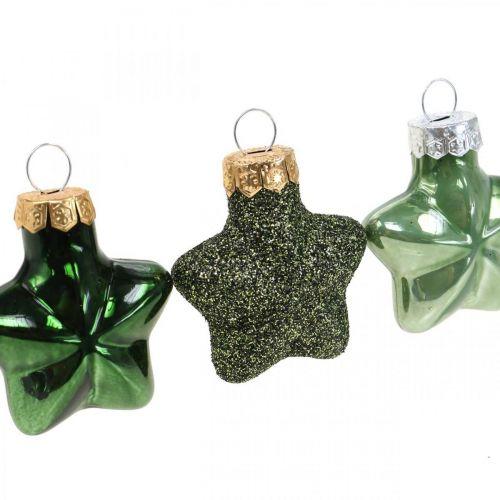 Mini Christbaumschmuck Mix Grün Glas Weihnachtsdeko sortiert 4cm 12St