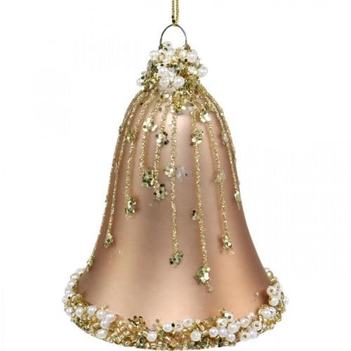 Glasglocken mit Dekor, Christbaumschmuck, Glocken zum Hängen Ø6,5cm H8cm Beige 2er-Set