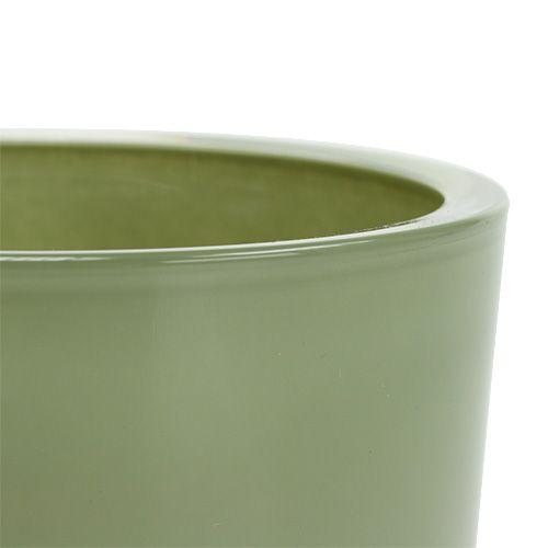Blumentopf aus glas 12 5cm h11cm moosgr n gro handel und for Blumentopf glas
