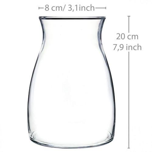 Deko Glasvase klar Blumenvase Glas Ø11cm H20cm