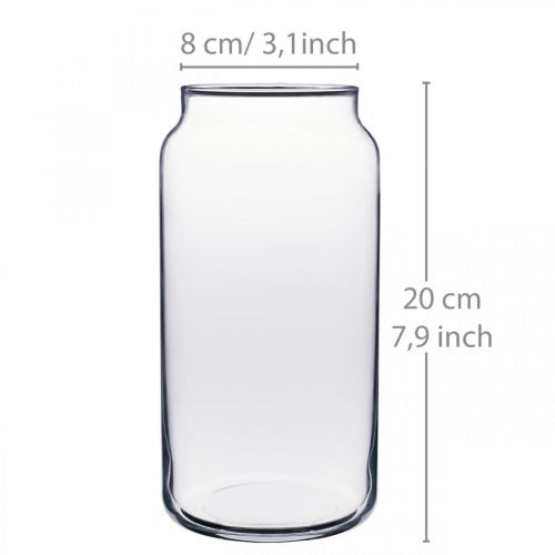 Blumenvase Glas Klar Glasvase Tischdeko Ø8cm H20cm