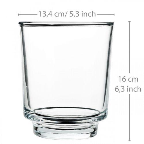 Blumenvase, Glas-Gefäß, Deko-Windlicht, H16cm Ø13,4cm