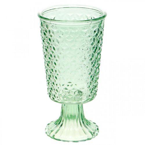Glas-Windlicht, Pokalglas mit Fuß, Glasgefäß Ø10cm H18,5cm