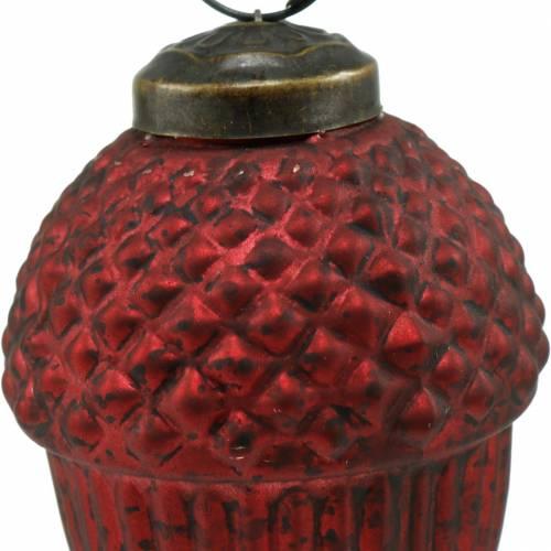 Baumschmuck Zapfen Rot Echtglas 9cm 3St
