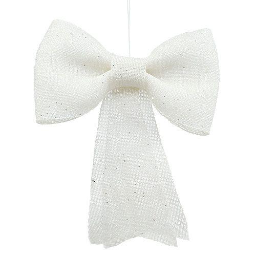 Glitterschleife zum Hängen Weiß 32cm x 42cm