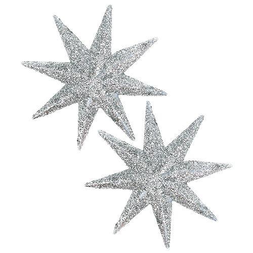 Glitterstern Silber Ø10cm 12St