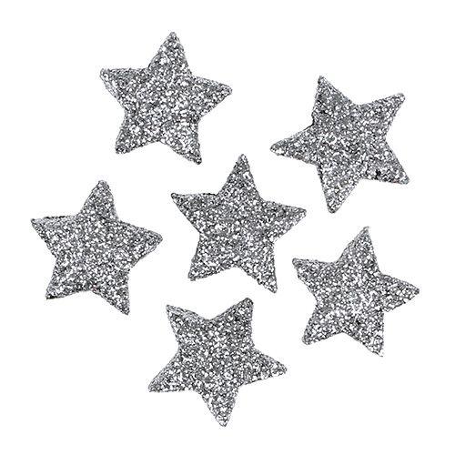 Glitterstern Silber Ø2,5cm 48St