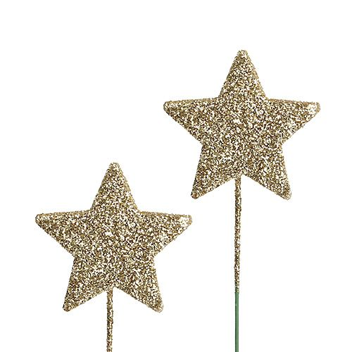 Glitterstern am Draht 4cm Gold 60St