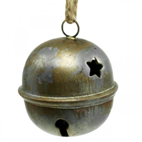 Weihnachtsglöckchen, Schellen mit Sternen, Adventsdeko Metall Antik-Optik H5,5cm Ø5cm 4St