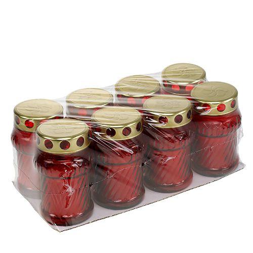 Grablicht Glas Rot Ø7cm H13cm 8St