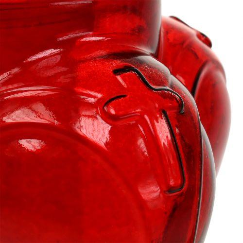 Grablicht Herz 13cm x 13cm H29cm Weiß, Rot 2St