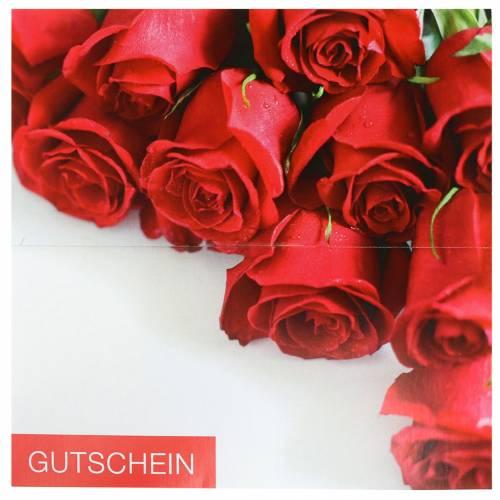 Gutscheinkarte rote Rosen + Umschlag 1St