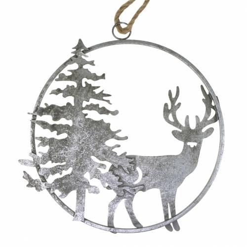 Deko-Ring Rentier und Tanne Antik-Look Silber Ø30cm Zum Aufhängen