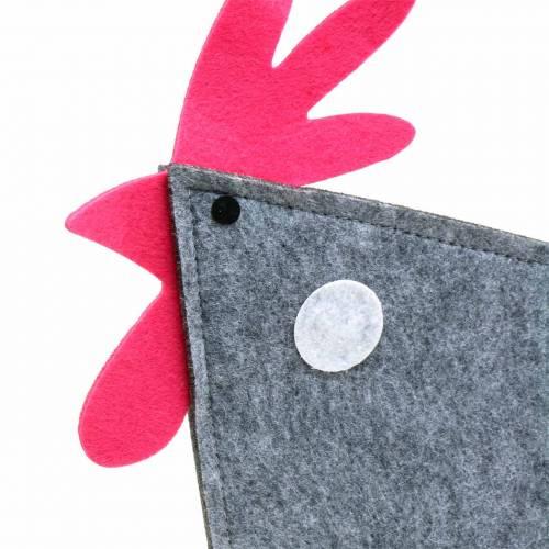Deko Hahn aus Filz mit Punkten Grau, Weiß, Pink 30cm x 5cm H31,5cm Osterdekoration, Schaufenster