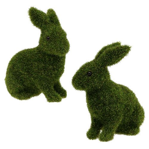 Hase sitzend Grün beflockt H13,5cm 4St