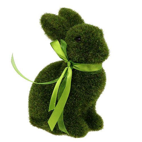 Hase sitzend Grün beflockt H15cm 3St