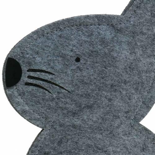 Hase Sitzend Filz Grau 27cm x 6cm H40,5cm