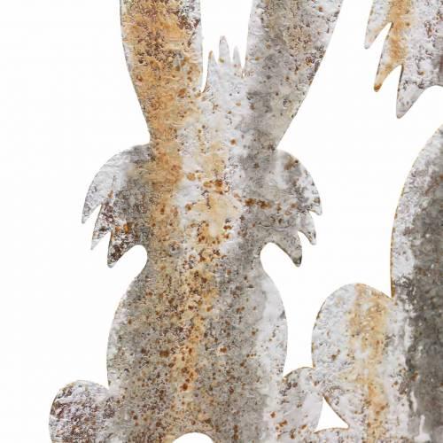 Osterdeko Hase mit Kind zum Stecken Rost Birkenoptik Metall 25×32cm