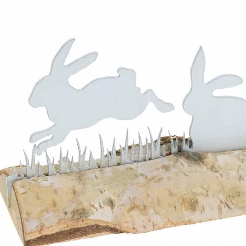 Hasenfamilie Metall Weiß auf Holzfuß Birke 25cm H9cm