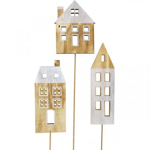Haus Dekostecker Holz Natur, Weiß Holzdeko H12,5/17,5/20cm 6St