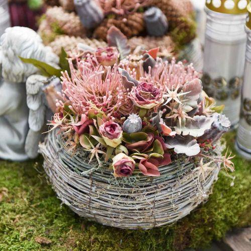 Herbstblume Nadelkissen künstlich Protea Rosa Leucospermum 73cm 3St
