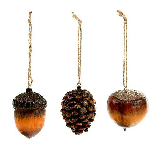 Herbstdeko Hänger Eichel, Nuss, Zapfen 6cm 3St