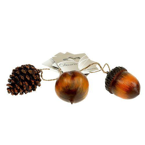 Herbstdeko Hänger Eichel, Nuss, Zapfen 6cm 3St, Großhandel
