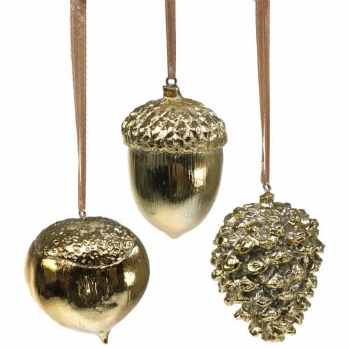 Herbstdeko Hänger Eichel, Nuss, Zapfen Gold 6cm 3St