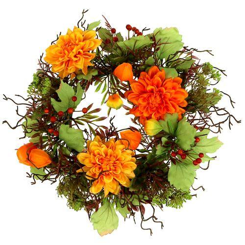 Herbstkranz Ø30cm mit Chrysamthemen orange