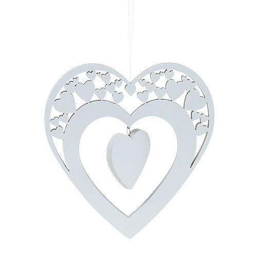 Herz zum Hängen Weiß 23cm