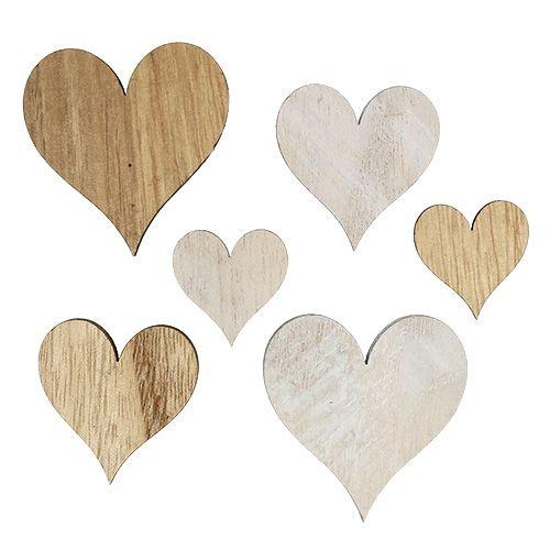 Herzen Mix aus Holz Grau, Natur 2,5cm - 5cm 46St