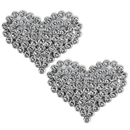 Herzen 6,5cm Silber mit Klebepunkt 12St