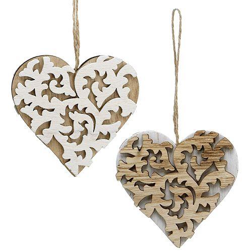 Herzen aus Holz 8cm Natur, Weiß 10St