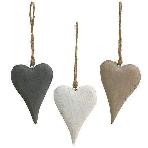 Herzen zum Hängen Weiß/Grau 12cm L21cm 3St