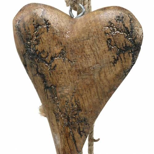 Holzherzen mit Glitterintarsien am Strang zum Hängen Natur L60cm