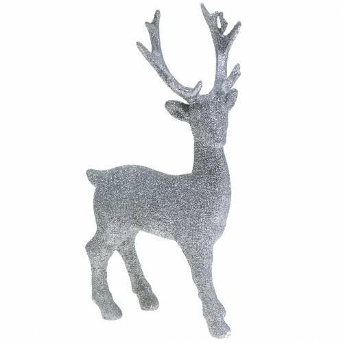 Dekofigur Hirsch Silber Glitter 25cm x 12cm