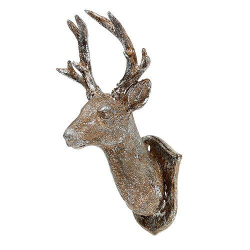 Hirschkopf 19cm x 11cm Braun mit Silber
