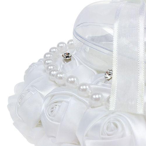 Hochzeit Ringkissen mit Ringhalter Weiß 17cm x15cm